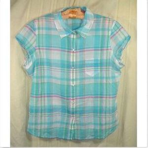Maurices Womens Multi-Color Striped Button XL Top